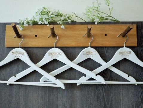 Personalised White Wooden Wedding Hangers Set of 7 - Scroll